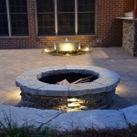 20-Water Feature, Firepit, and Sitting wall centered on the window
