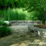 The two level wall is set off by the equisetum, which enhances the curve.