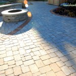 O'Brien Residence Pavers, sitting wall and firepit with paver brick detail