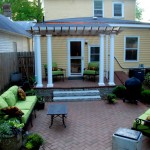 The double detail columned pergola is a nice addition to the space.