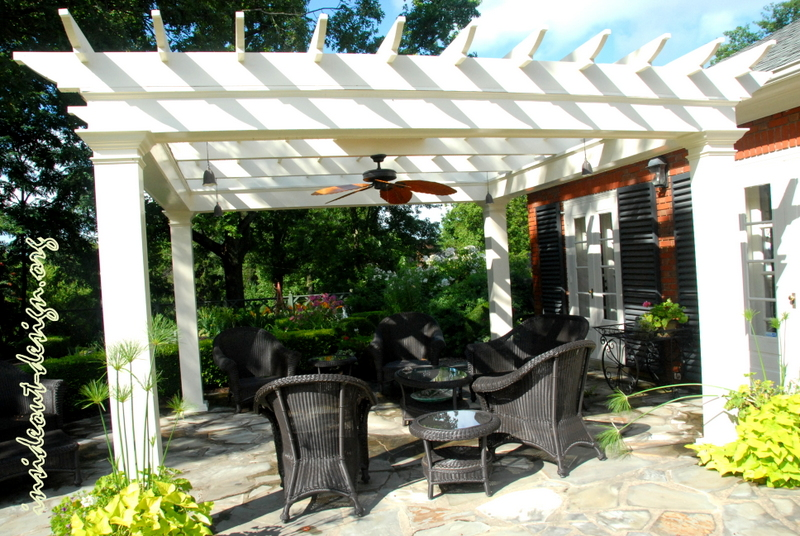 The pergola provides structure and shade to the patio and extends the outdoor living.