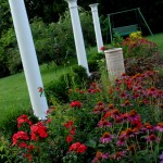 The columns were from her Bourbon County childhood home and repurposed for the garden.