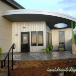 The front of the office was elevated with Belgard Weston wall block.