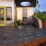 Belgard pavers and wall, water feature and lighting.